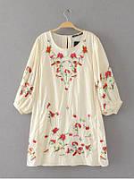 Блузка женская вышитая 404422 Блузки с вышивкой реплика Zara