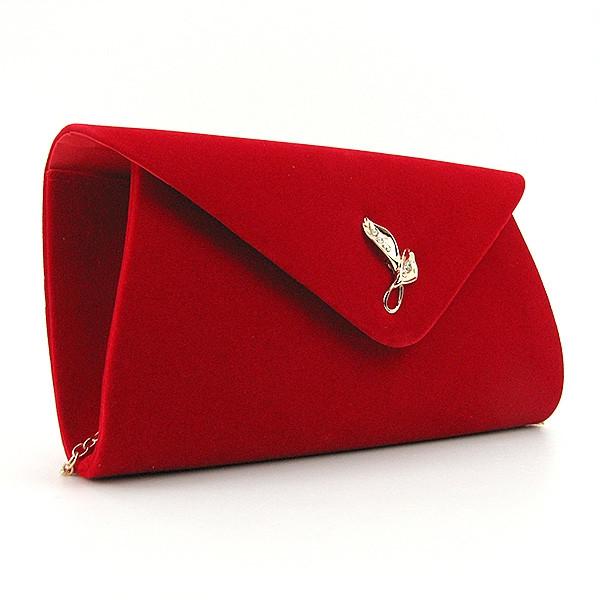 Клатч женский, выпускной, вечерний красный велюр Rose Heart 103170