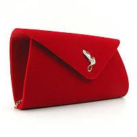 Клатч женский, выпускной, вечерний красный велюр Rose Heart 103170, фото 1