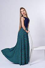 Платье мод 513-3,размер 44,46 бирюзовое с синим