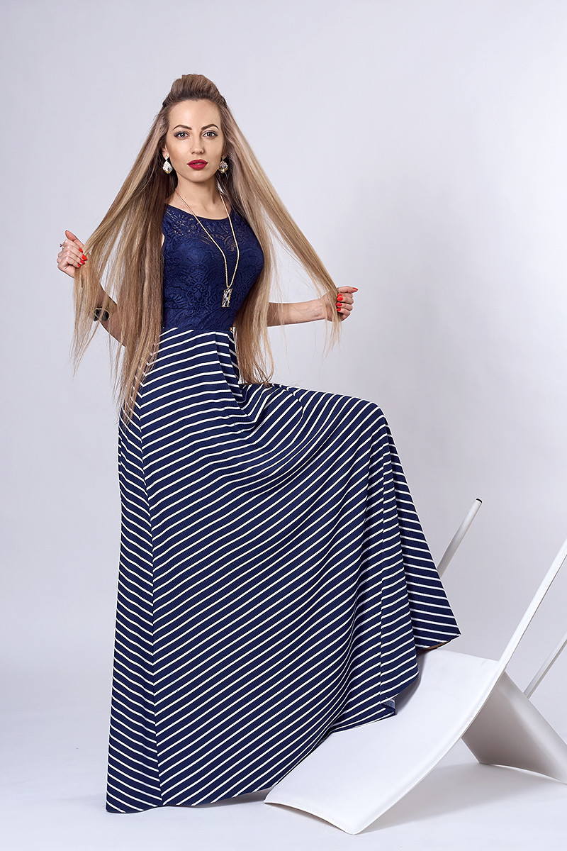 Платье мод 513-4,размер 40-42,44, синее с белым