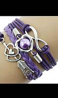 Женский браслет на руку фиолетовый с сердечками