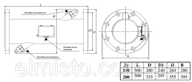 Габаритные размеры ультразвуковых расходомеров SDU-1 Dn150