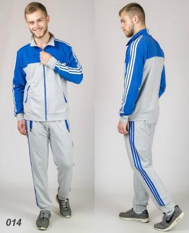 Мужской  спортивный костюм  (светло-серый + электрик)