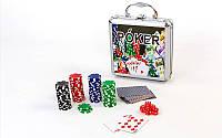 Набор для покера 100 фишек в алюминиевом кейсе Poker Game Set 4392: фишки без номинала, вес 11,5г