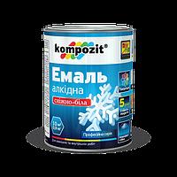 Эмаль алкидная снежно-белая Kompozit 0.9кг глянец - Алкидная эмаль по металлу