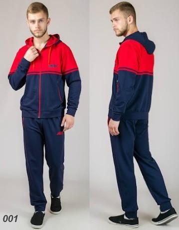 Мужской спортивный костюм из трикотажа  (синий + красный)