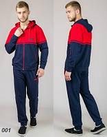 Мужской спортивный костюм из трикотажа  (синий + красный), фото 1