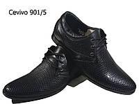 Туфли мужские классические  натуральная перфорированная кожа черные на шнуровке  (901/5)