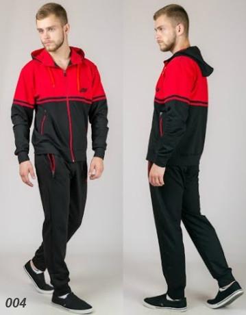 Мужской трикотажный спортивный костюм  (черный + красный)