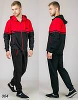 Мужской трикотажный спортивный костюм  (черный + красный), фото 1