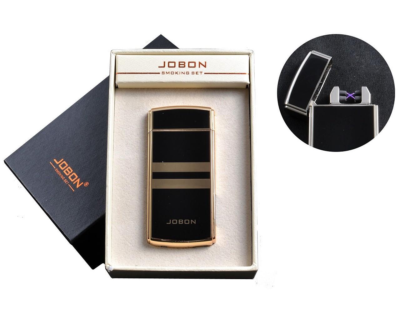 """Электроимпульсная USB зажигалка """"Jobon"""" №4780-1, счетчик использования, включение встряхиванием, две молнии"""