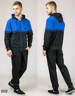 Мужской трикотажный спортивный костюм  (черный + синий), фото 1