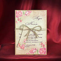Пригласительные на свадьбу с розовыми цветами (арт. 5551)
