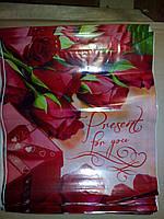 """Пакет с петлевой пластиковой ручкой 42*38 """"Розы"""""""