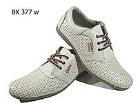 Мокасины мужские летние натуральная кожа бежевые на шнуровке (377)