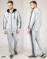 Мужской  спортивный костюм  (светло-серый + черный)
