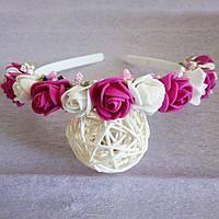 Ободок Канзаши Розы бело малиновый