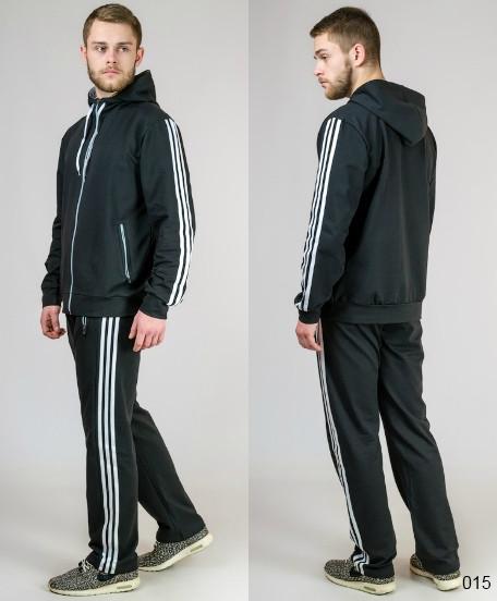 Трикотажный спортивный костюм для мужчин (черный+белый)