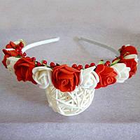 Ободок Канзаши Розы красно белый