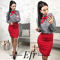 Костюм, рубашка с галстуком и юбка облегающая в расцветках 166 (105)