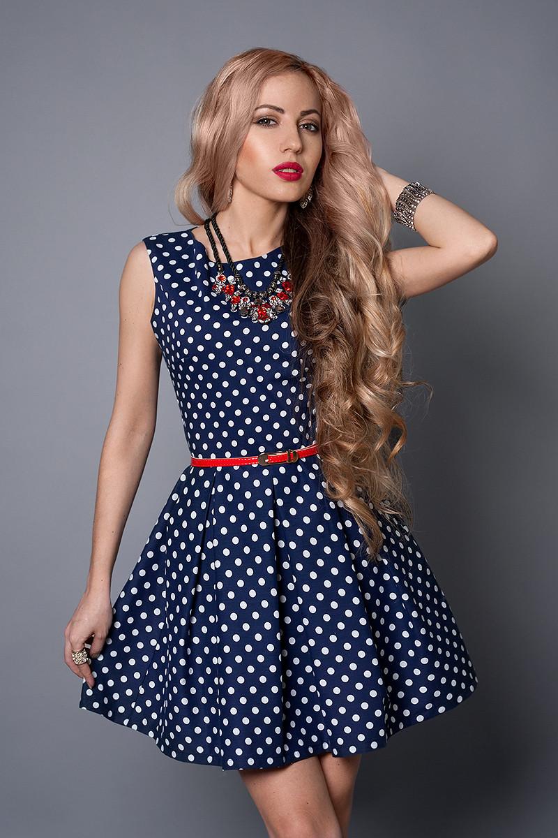 Платье  мод 385-3 размер 42,44,46 синий горох