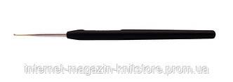 Крючок KnitPro стальной с черной ручкой и золотым наконечником 1.00 мм