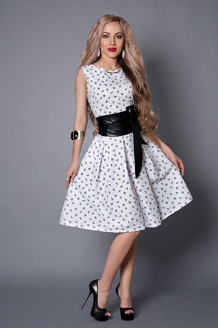 Платье  мод 386-2 размер 44,46,48,50 белое в якорь, фото 1