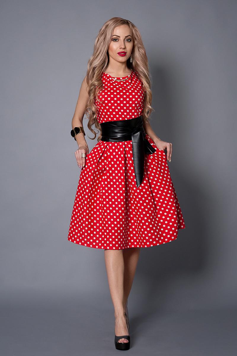 Платье  мод 386-3 размер 48 красное в белый горох