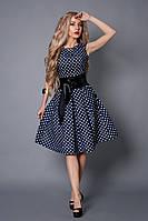 Платье  мод 386-5 размер 42 синее в белый горох