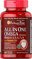 Омега-3, 5, 6, 7 и 9 с витамином D3, Puritan's Pride, 60 капсул, фото 1