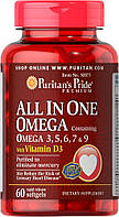 Омега-3, 5, 6, 7 и 9 с витамином D3, Puritan's Pride, 60 капсул