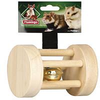 КАРЛИ-ФЛАМИНГО игрушка для грызунов с колокольчиком, дерево, 3,5х5см