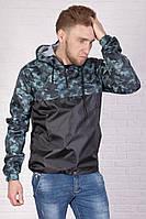 Анорак, ветровка, куртка весенняя, осенняя, высокое качество, черный+камуфляж