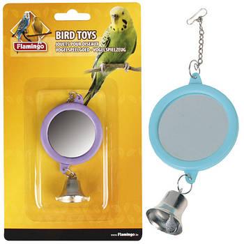 Игрушка Karlie Flamingo КАРЛИ-ФЛАМИНГО для попугаев круглое зеркало с колокольчиком, 6 см