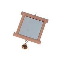 КАРЛИ-ФЛАМИНГО игрушка для птиц, аксессуар в клетку зеркало в деревянной раме с колокольчиком, 13х10см