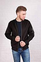 Куртка, ветровка, бомбер, мужская, весенняя, осенняя черный