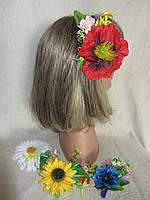 Заколка с цветами мака (26/22) (цена за 1шт. +4 грн), фото 1