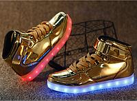 Золотые светящиеся LED кроссовки Высокие