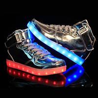 Серебреные светящиеся LED кроссовки Высокие