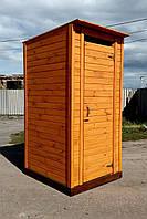 Туалет деревянный из имитации бруса (обшивка горизонтально)
