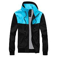 Ветровка, куртка мужская весенняя, летняя, осенняя! черный+голубой