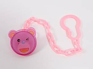 Цепочка для пустышки пластиковая Lindo Pk 216 Кот на клипсе Розовая