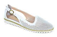 Белые женские кожаные туфли балетки мокасины Evromoda размеры 33-42