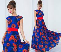 Женское летнее длинное платье с цветочным принтом в разных цветах