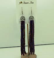 575 Фиолетовые серьги подвески кисти из камней