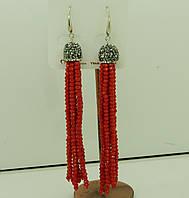 576 Красные серьги подвески, серёжки кисти из камней