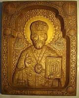 Икона резная Николая Чудотворца из дуба.