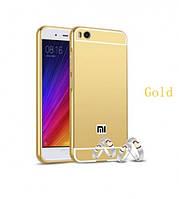 Металлический бампер с акриловой вставкой с зеркальным покрытием для Xiaomi Mi 5s (Золотой) 54983