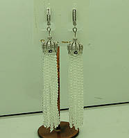 Женские белые серьги кисти из камней с цирконием 584